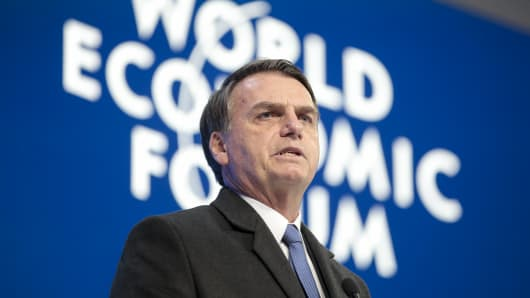 Jair Bolsonaro, Brazil's president, delivers a speech during a special address on the opening day of the World Economic Forum (WEF) in Davos, Switzerland, on Tuesday, Jan. 22, 2019.