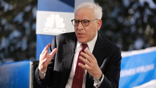 David Rubenstein, co-founder and co-executive chairman of The Carlyle Group, speaking at the 2019 WEF in Davos, Switzerland on Jan. 22, 2019.
