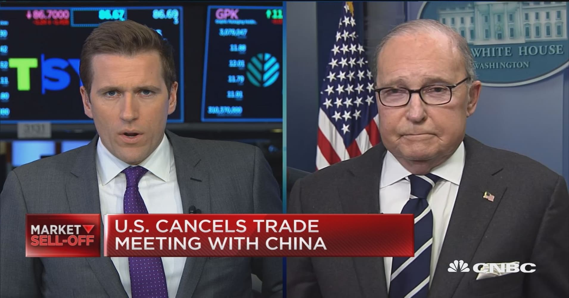 Reports of canceled meeting between the U S  and China not true, says NEC  director Kudlow