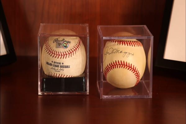 Baseball memorabilia signed by Joe DiMaggio