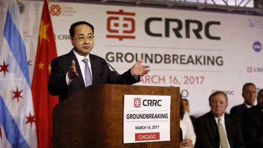 China Railway Rolling Stock Corporation Corporation Ltd. Vice President Sun Yongcai speaks during a ground-breaking ceremony for a railcar assembly plant in Chicago, the United States, March 16, 2017.