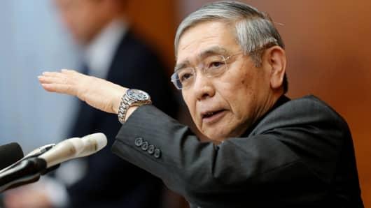 Bank of Japan Governor Haruhiko Kuroda speaks during a press conference in Tokyo on December 20, 2018.