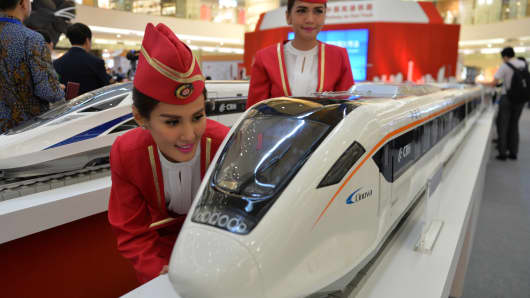 Scale models of Chinese-made bullet trains on exhibition in Jakarta.