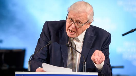 British naturalist, documenter, and broadcaster Sir David Attenborough delivers a speech after receiving a Crystal Award during a ceremony ahead of the World Economic Forum (WEF) 2019 annual meeting, on January 21, 2019 in Davos, eastern Switzerland.
