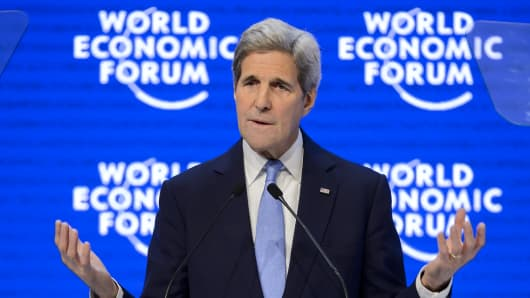US Secretary of State John Kerry addresses the assembly at the World Economic Forum (WEF) annual meeting in Davos, on January 22, 2016.