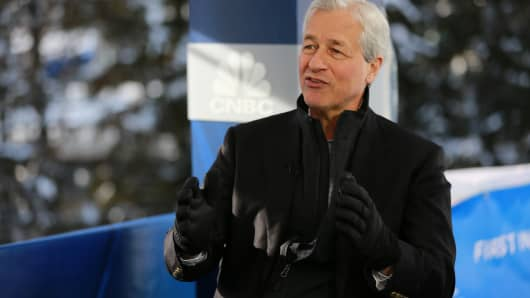 Jamie Dimon, CEO of JP Morgan Chase, speaking at the 2019 WEF in Davos, Switzerland on Jan. 23rd, 2019.
