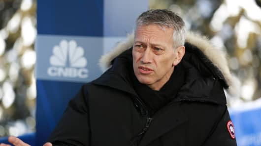 James Quincey, CEO of Coca-Cola Co., speaking at the 2019 WEF in Davos, Switzerland on Jan. 23rd, 2019.
