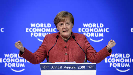 German chancellor Angela Merkel delivers a speech during the World Economic Forum (WEF) annual meeting, on January 23, 2019 in Davos, eastern Switzerland.