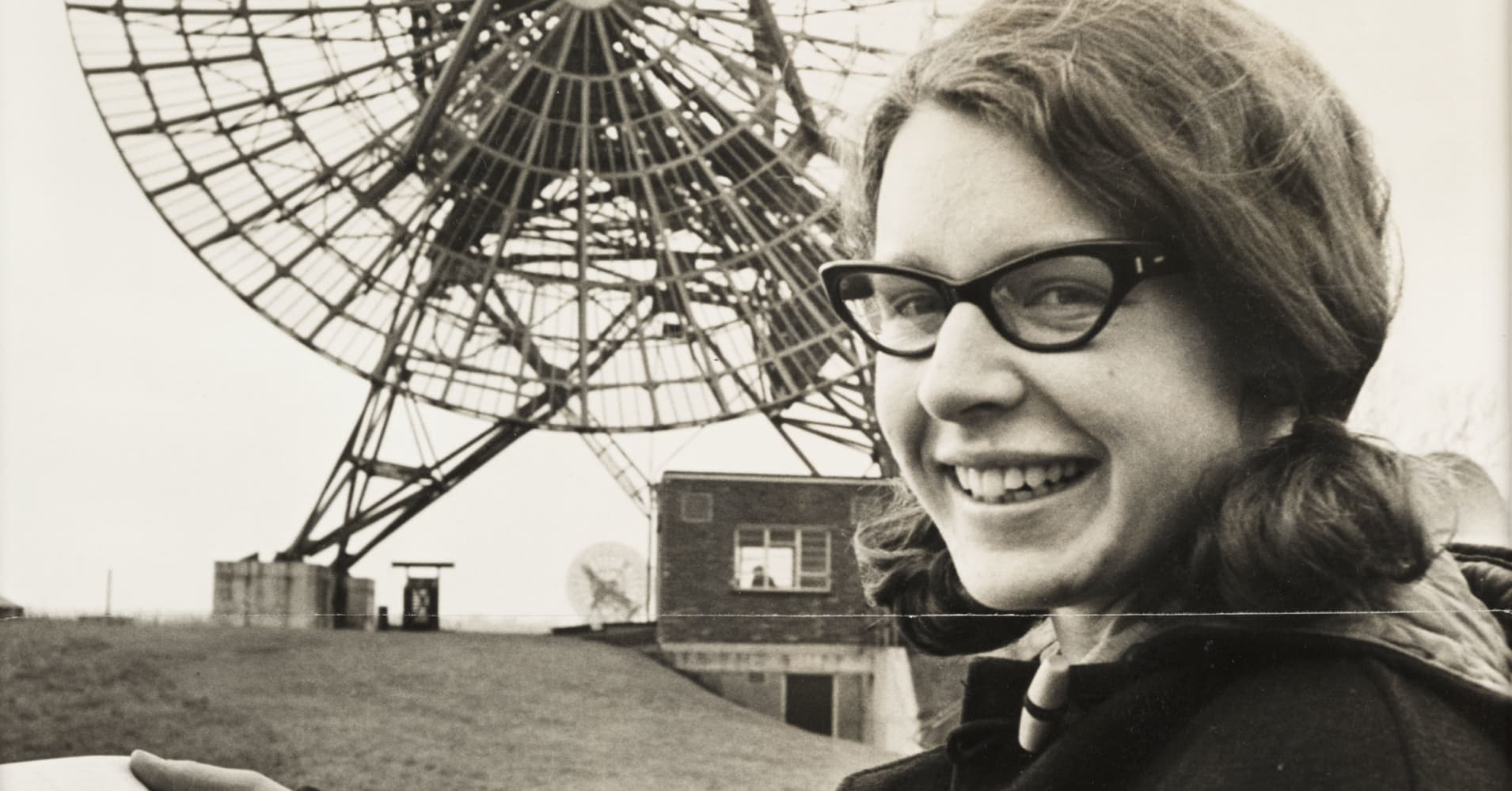 A photograph of Jocelyn Bell Burnell (born 1943) at the Mullard Radio Astronomy Observatory at Cambridge University, taken for the Daily Herald newspaper in 1968.