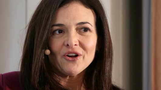 Facebook Chief Operating Officer Sheryl Sandberg speaks during an event on the sidelines of the World Economic Forum in Davos, Switzerland January 23, 2019.