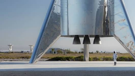 The finished assembly of SpaceX's Starship test flight rocket.
