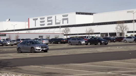 Tesla's electric vehicle plant in Fremont, Calif., January 19, 2019.