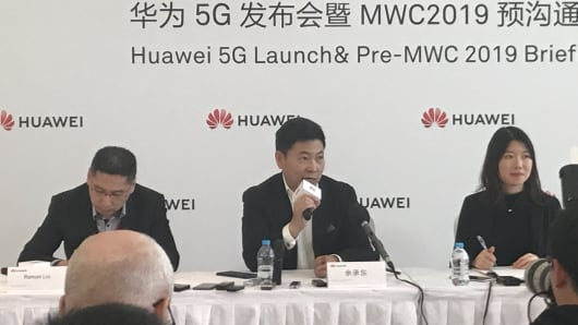 Richard Yu speaks during a Huawei event.