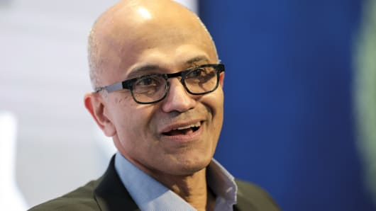 Satya Nadella, chief executive of Microsoft, speaks during a panel session on day three of the World Economic Forum in Davos, Switzerland.