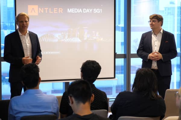 Magnus Grimeland, Antler founder and CEO, and Jussi Salovaara, Antler co-founder and managing director, speak at the start-up generator's demo day in Singapore on January, 9. 2019.