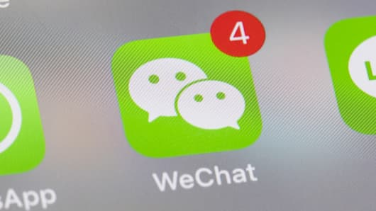 A smart phone with the icons for the social networking apps WeChat and others seen on the screen on June 29 2018 in Hong Kong, Hong Kong.