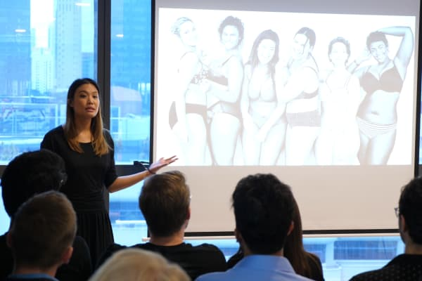 Joanna Wong, founder and CEO of All Woman Co., speaks at the demo day of start-up generator Antler in Singapore on January, 9. 2019.