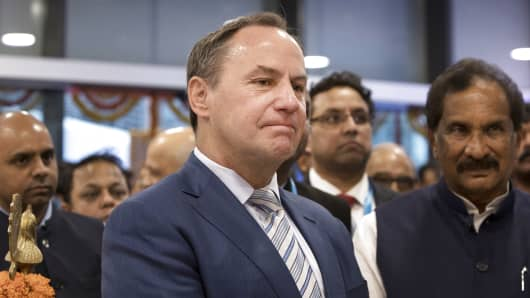 Bob Swan, interim chief executive officer and chief financial officer of Intel Corp., reacts during the inauguration of the company's research and development facility in Bengaluru, India, Nov. 15, 2018.