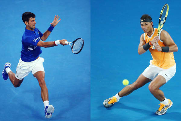 Novak Djokovic of Serbia (L) and Rafael Nadal of Spain will meet in the final of the 2019 Australian Open