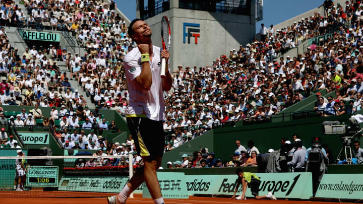 Robin Soderling of Sweden celebrates a point during the Men's Singles Quarter Final match against Nikolay Davydenko of Russia on day ten of the French Open at Roland Garros on June 2, 2009 in Paris, France.