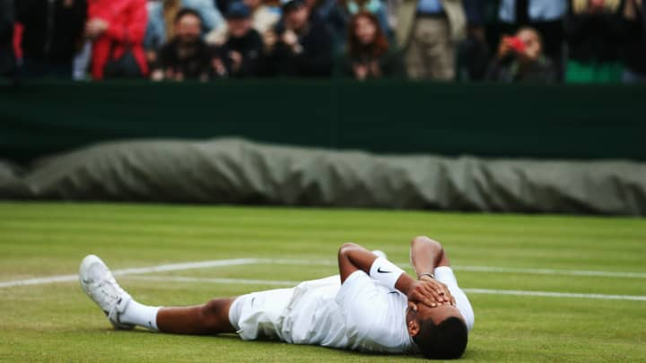 LONDON, ENGLAND - JUNE 28:  Nick Kyrgios of Australia celebrates after winning his Gentlemen's Singles third round match against Jiri Vesely of Czech Republic on day six of the Wimbledon Lawn Tennis Championships at the All England Lawn Tennis and Croquet Club at Wimbledon on June 28, 2014 in London, England.