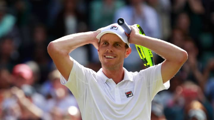 LONDON, ENGLAND - JULY 02:  Sam Querrey of The United States celebrates victory during the Men's Singles third round match against Novak Djokovic of Serbia on day six of the Wimbledon Lawn Tennis Championships at the All England Lawn Tennis and Croquet Club on July 2, 2016 in London, England.