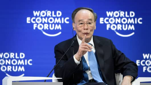 Chinese Vice President Wang Qishan attends a special address during the World Economic Forum (WEF) annual meeting, on January 23, 2019 in Davos, eastern Switzerland.