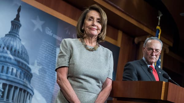 Speaker Nancy Pelosi, D-Calif., and Senate Minority Leader Charles Schumer, D-N.Y., conduct a new conference in the Capitol about a continuing resolution to re-open the government on Friday, January 25, 2019.