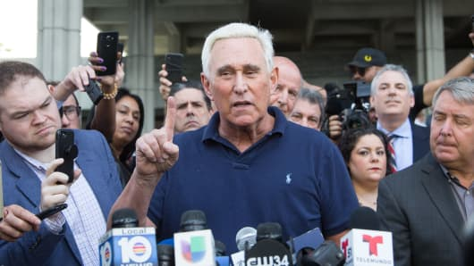 Roger Stone, a longtime adviser to President Donald Trump, speaks to the media outside court January 25, 2019 in Fort Lauderdale, Florida.