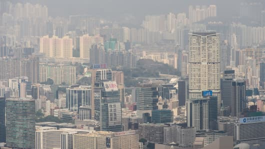 A general view shows residential and commercial buildings in the Kowloon district of Hong Kong.