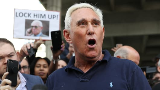Roger Stone, a former advisor to President Donald Trump, speaks to the media after leaving the Federal Courthouse on January 25, 2019 in Fort Lauderdale, Florida.