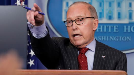 White House Financial Advisor Larry Kudlow addresses journalists during a White House press release in Washington, January 28, 2019.