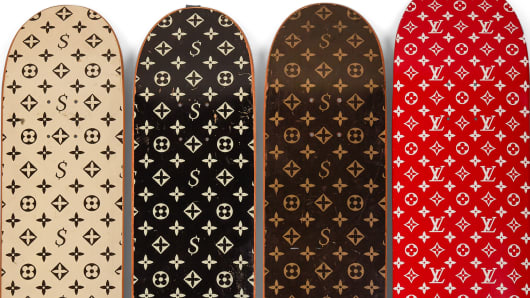 Supreme once released unauthorized skate decks with a Louis Vuitton monogram, which were recalled when the luxury brand threatened legal action. Later the two companies collaborated.
