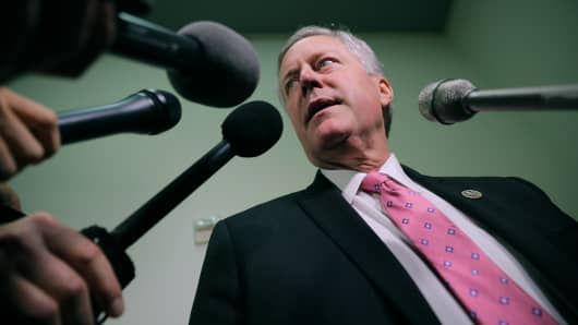 Rep. Mark Meadows (R-NC) talks with reporters in the Rayburn House Office Building on Capitol Hill October 19, 2018 in Washington, DC.
