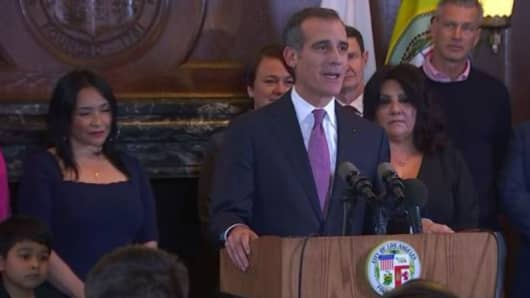 Los Angeles Mayor Eric Garcetti speaking at City Hall announcing he won't run for president in 2020.