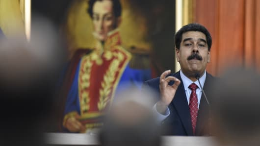 Nicolas Maduro, Venezuela's president, speaks during a televised press conference in Caracas, Venezuela, on Friday, Jan. 25, 2019.