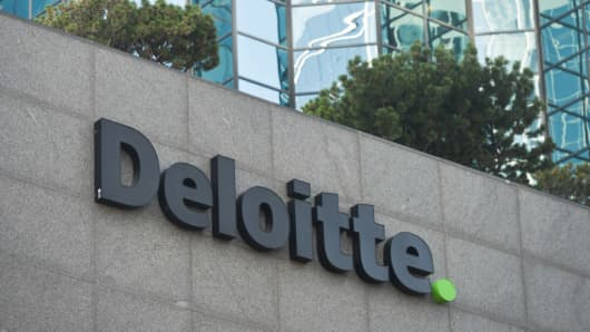 A view of Deloitte logo in Edmonton's downtown. On Tuesday, September 11, 2018, in Edmonton, Alberta, Canada.