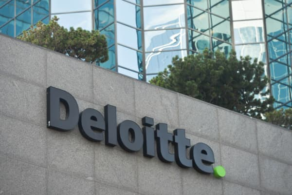 A view of Deloitte logo in Edmonton's downtown. On Tuesday, September 11, 2018, in Edmonton, Alberta, Canada.