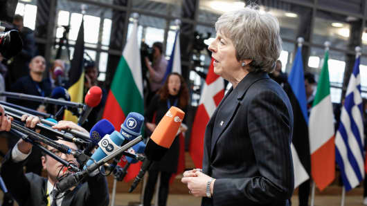 Theresa May, Prime Minister of the United Kingdom talks to the journalists in the Europa Building during the European Council Summit in Brussels, Belgium on December 13, 2018.