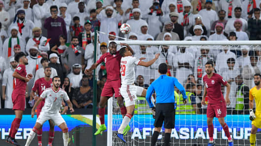 Abdelkarim Hassan of Qatar and Ismail Ahmed Mohamed of the UAE jumps for a header during the AFC Asian Cup semi final match between Qatar and United Arab Emirates at Mohammed Bin Zayed Stadium on January 29, 2019 in Abu Dhabi, United Arab Emirates. (Photo by Koki Nagahama/Getty Images)