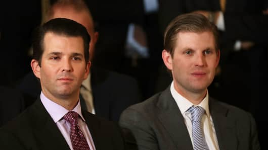 Donald Trump Jr. (L) and Eric Trump, sons of U.S. President Donald Trump, attend the ceremony to nominate Judge Neil Gorsuch to the Supreme Court in the East Room of the White House January 31, 2017 in Washington, DC.