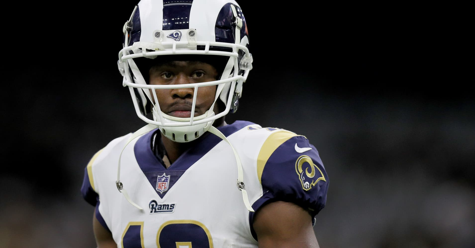 Brandin Cooks #12 of the Los Angeles Rams is seen on the field before taking on the New Orleans Saints in the NFC Championship game at the Mercedes-Benz Superdome on January 20, 2019 in New Orleans, Louisiana.