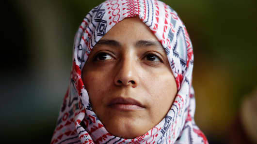 Nobel Peace Prize winner Tawakkol Karman of Yemen looks on during a news conference against mining in the town of Casillas, Guatemala, October 26, 2017.
