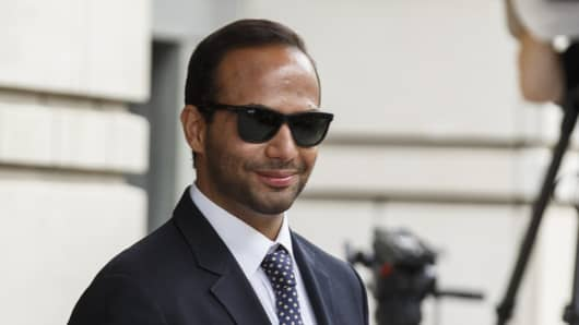 George Papadopoulos, former campaign adviser for U.S. President Donald Trump, walks out of federal court in Washington, D.C., U.S., on Friday, Sept. 7, 2018.