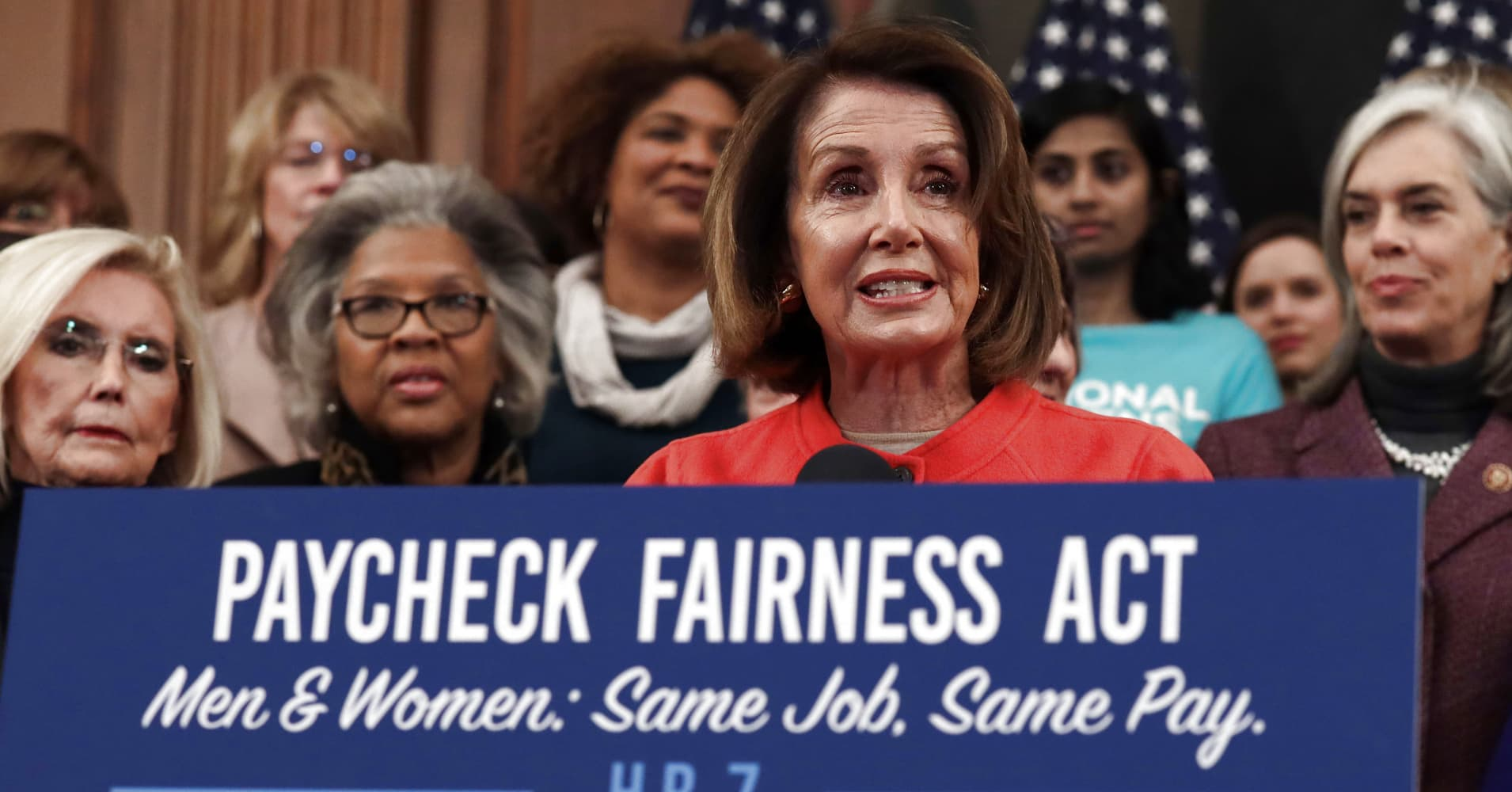 U.S. Speaker of the House Rep. Nancy Pelosi (D-CA) speaks during a news conference at the U.S. Capitol January 30, 2019 in Washington, DC. House Democrats held a news conference to introduce the 'Paycheck Fairness Act.'
