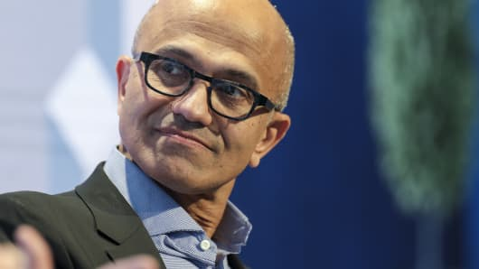 Microsoft CEO Satya Nadella looks on during a panel session on day three of the World Economic Forum in Davos, Switzerland, on Jan. 24, 2019.