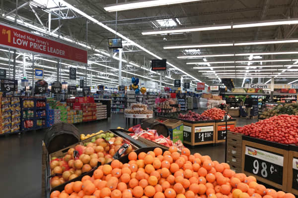 The produce section of the Walmart located in North Bergen, New Jersey.