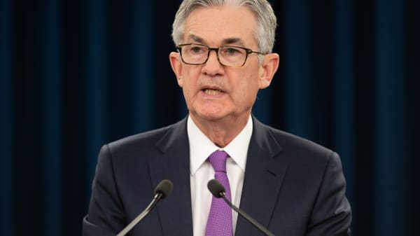 Federal Reserve Board Chairman Jerome Powell speaks during a press conference after the Fed announced interest rates would remain unchanged, in Washington, DC, January 30, 2019.