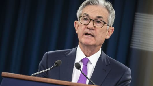 Jerome Powell, chairman of the U.S. Federal Reserve, speaks during a news conference following a Federal Open Market Committee (FOMC) meeting in Washington, D.C., on Wednesday, Jan. 30, 2019.