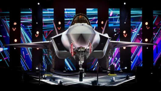 Lockheed Martin's F-35 Lightning II fighter jet at a ceremony on